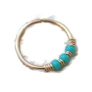 Moodtherapy Jewelry - Turquoise beaded helix hoop earring